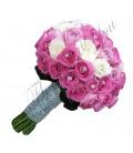 Buchete mireasa trandafiri roz si crem