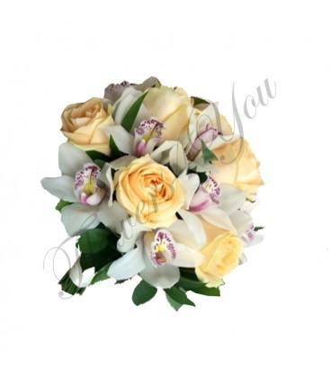 Buchete mireasa trandafiri somon orhidee alba