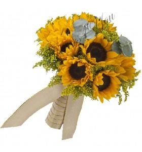 Buchet de mireasa floarea soarelui solidago