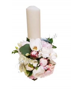 Lumanari nunta bujori albi