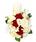 Lumanari nunta scurte frezii albe trandafiri grena