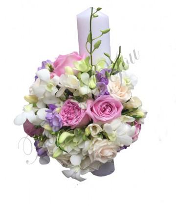 Lumanari nunta scurte frezii trandafiri hipericum