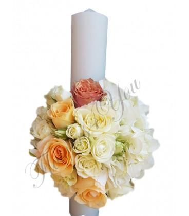 Lumanari nunta scurte trandafiri albi si somon