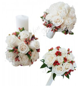 Pachete nunta lumanari scurte trandafiri hipericum