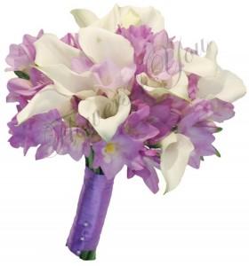 Buchet de mireasa frezia mov lila cale albe