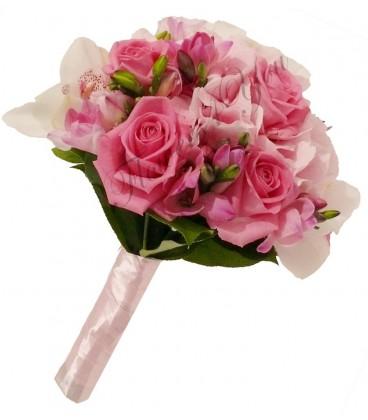 Buchet de mireasa hortensia roz orhidee alba trandafiri roz