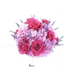 Buchet de mireasa hortensia roz trandafiri fucsia lavanda