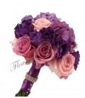 Buchet de mireasa lisiantus mov hortensia mov trandafiri