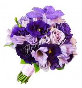 Buchet de mireasa lisiantus mov trandafiri mov lila vanda