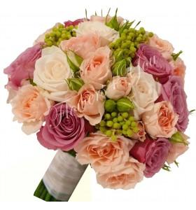 Buchet de mireasa miniroza pal trandafiri mov trandafiri albi