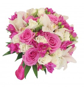 Buchet de mireasa orhidee alba frezia cyclam miniroza albi trandafiri roz