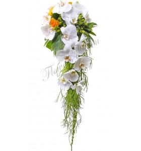 Buchet de mireasa phalaenopsis alb trandafiri galbeni hipericum verde