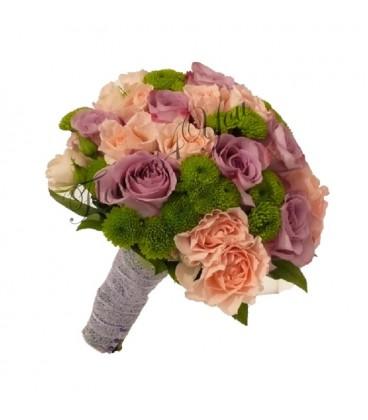 Buchet de mireasa santini verde trandafiri mov miniroza roz