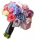 Buchet de mireasa trandafiri coray hortensia albastra bujori roz lalele mov