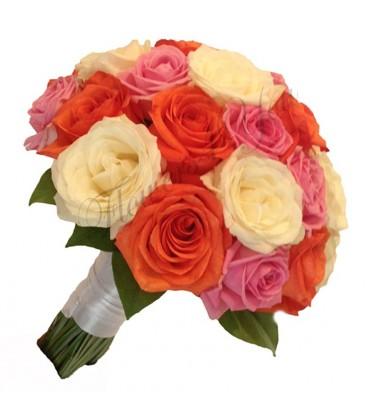 Buchet de mireasa trandafiri coray trandafiri roz trandafir albi