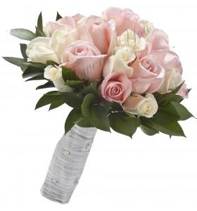 Buchet de mireasa trandafiri roz trandafiri albi