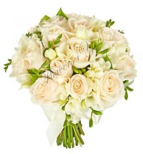 Buchet mireasa trandafiri crem frezii albe