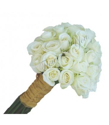 Buchet mireasa trandafiri albi