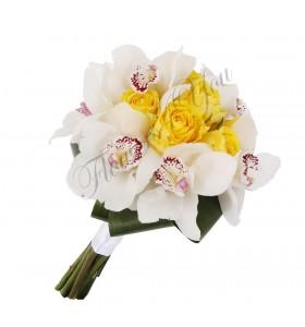 Buchet mireasa trandafiri galbeni orhidee alba