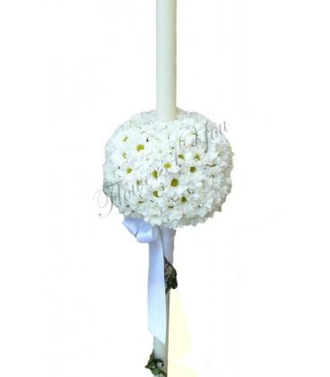 Lumanari nunta crizantema alba