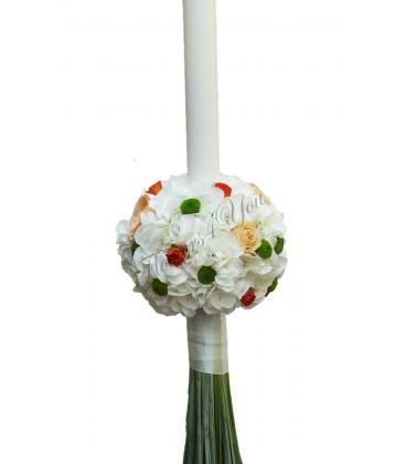 Lumanari nunta hortensia alba santini verde tandafiri somon miniroza porto