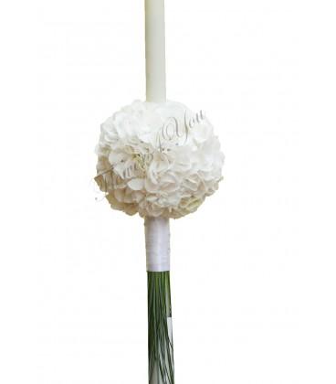 Lumanari nunta sfera hortensia alba
