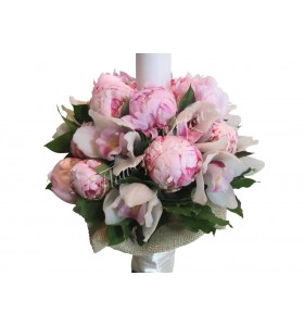 Lumanari nunta bujori roz orhidee alba