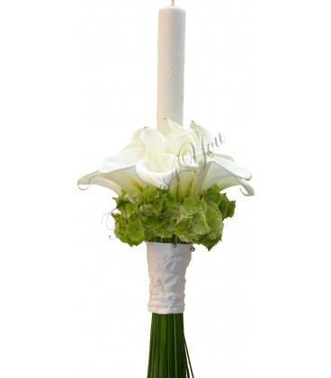 Lumanari nunta cale albe hortensia verde