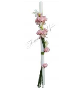 Lumanari nunta cale albe orhidee alba trandafiri roz
