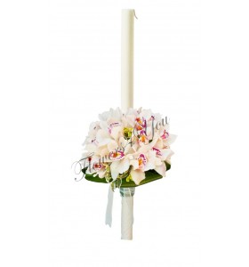 Lumanari nunta orhidee cu aspidistra la baza