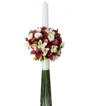 Lumanari nunta frezii albe orhidee grena miniroza albe
