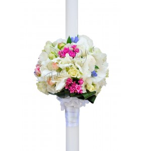 Lumanari nunta hortensia alba miniroza albi gentiana albastra