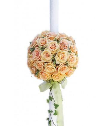 Lumanari nunta trandafiri somon verdeata hedera