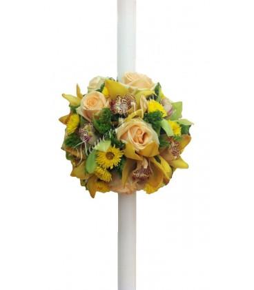 Lumanari nunta trandafiri somon orhidee santini