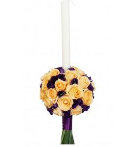 Lumanari nunta trandafiri somon lisiantus mov