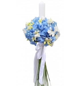 Lumanari nunta hortensia albastra dendrobium alb