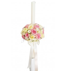 Lumanari nunta trandafiri roz pal trandafiri albi mini crem