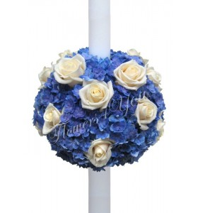 Lumanari nunta hortensia albastra trandafiri crem