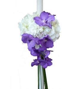 Lumanari nunta hortensia alba vanda blue