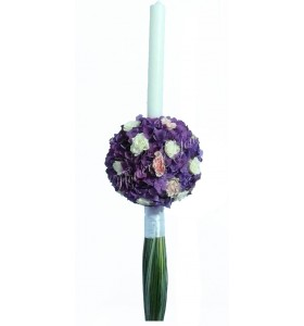 Lumanari nunta hortensia mov miniroza albi