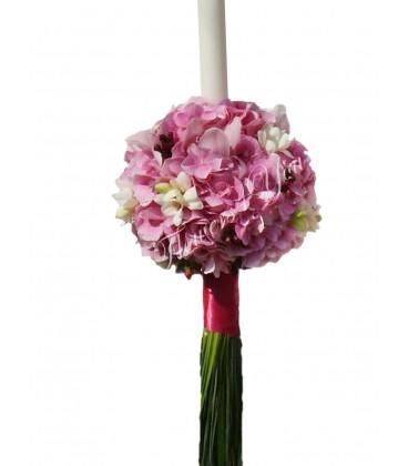 Lumanari nunta hortensia roz frezii albe