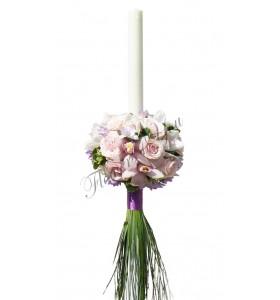 Lumanari nunta trandafiri roz deschis orhidee alba frezia mov-lila