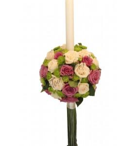 Lumanari nunta trandafiri mov santini verde trandafir crem