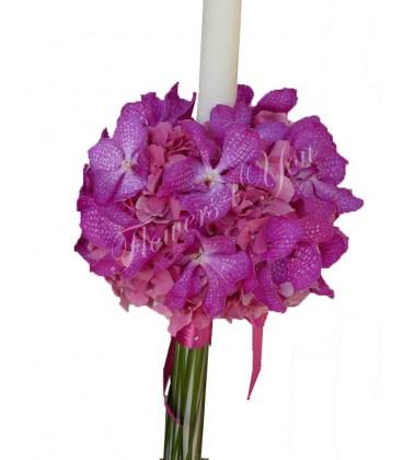 Lumanari nunta hortensia roz vanda