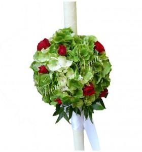 Lumanari nunta hortensia verde miniroza rosi