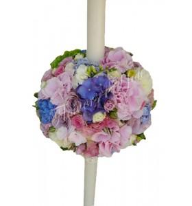 Lumanari nunta miniroza roz hortensia roz hortensia albastra trandafiri mov