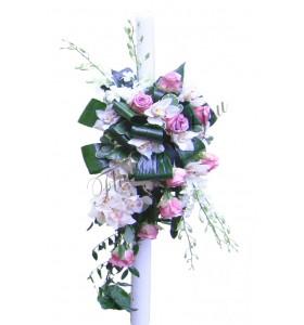 Lumanari nunta trandafiri mov orhidee alba dendrobium alb