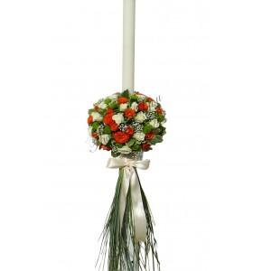 Lumanari nunta mini trandafiri crem mini trandafiri portocalii santini verde