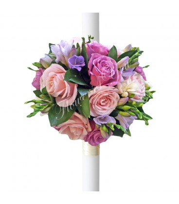 Lumanari nunta trandafiri mov trandafiri roz pal frezia lila