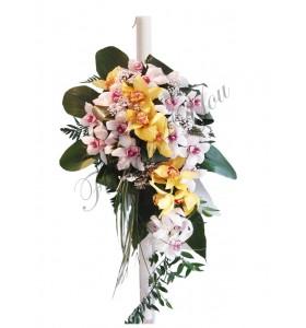 Lumanari nunta orhidee alba orhidee galbena ruscus